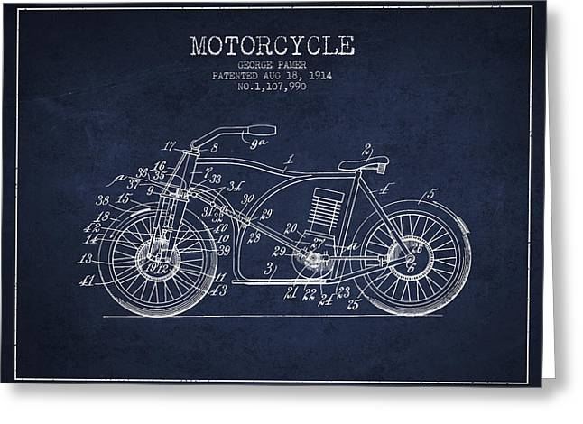 Motorcycles Drawings Greeting Cards - 1914 Motorcycle Patent - navy Blue Greeting Card by Aged Pixel