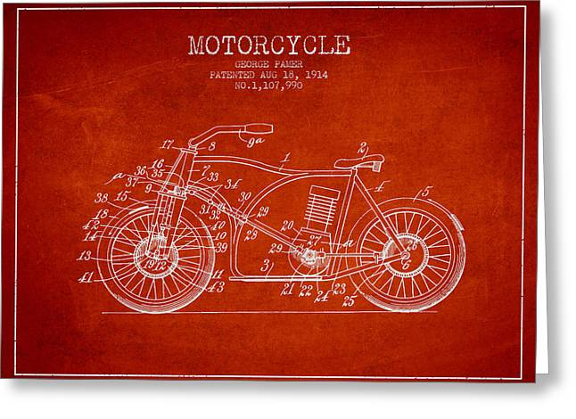 Motorcycles Drawings Greeting Cards - 1914 Motorcycle Patent - red Greeting Card by Aged Pixel