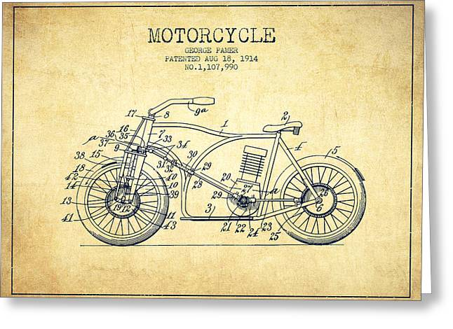 Motorcycles Drawings Greeting Cards - 1914 Motorcycle Patent - Vintage Greeting Card by Aged Pixel