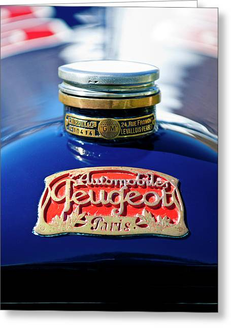 Hoodies Greeting Cards - 1914 Peugeot L45 Hood Ornaments Greeting Card by Jill Reger