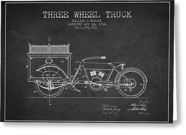 Motorbikes Greeting Cards - 1914 Three Wheel Truck Patent - Charcoal Greeting Card by Aged Pixel