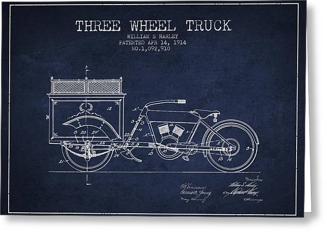 Motorbikes Greeting Cards - 1914 Three Wheel Truck Patent - Navy Blue Greeting Card by Aged Pixel