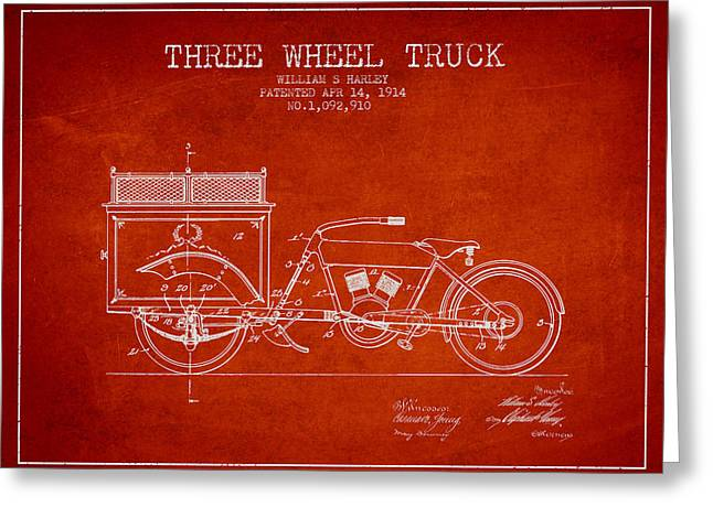 Motorbikes Greeting Cards - 1914 Three Wheel Truck Patent - Red Greeting Card by Aged Pixel