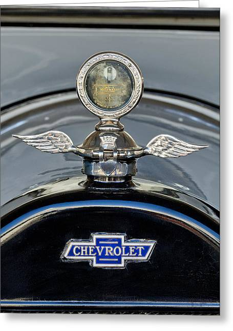 Boyce Motometer Greeting Cards - 1915 Chevrolet Touring Hood Ornament 2 Greeting Card by Jill Reger