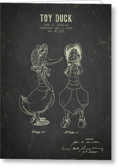 Vintage Dolls Greeting Cards - 1915 Female Toy Duck Patent - Dark Grunge Greeting Card by Aged Pixel