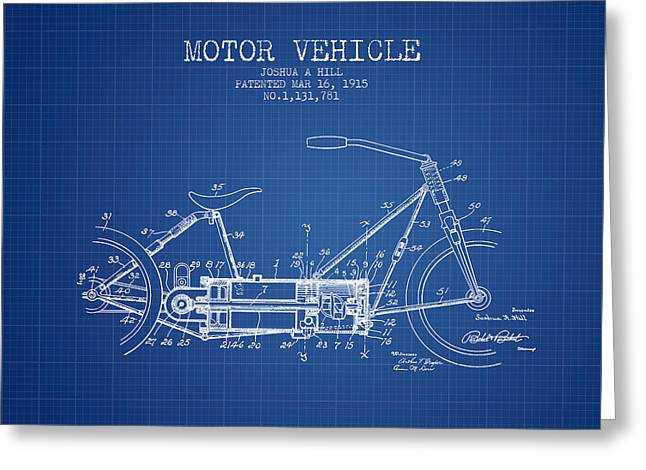 Technical Drawings Greeting Cards - 1915 Motor Vehicle Patent - blueprint Greeting Card by Aged Pixel