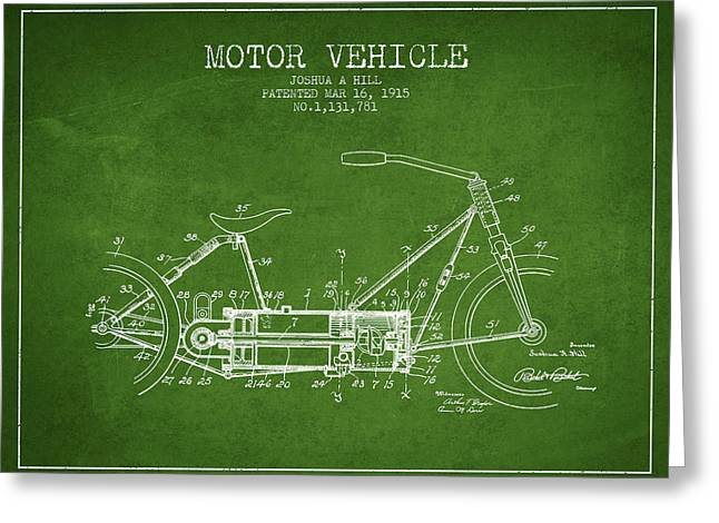 Motorcycles Greeting Cards - 1915 Motor Vehicle Patent - green Greeting Card by Aged Pixel