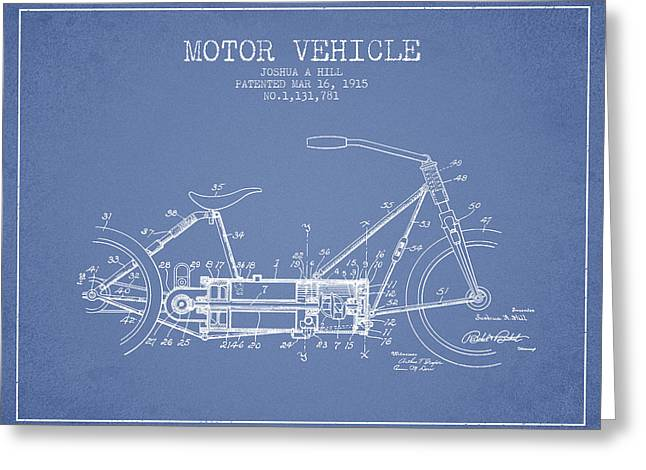 Motorcycles Drawings Greeting Cards - 1915 Motor Vehicle Patent - light blue Greeting Card by Aged Pixel