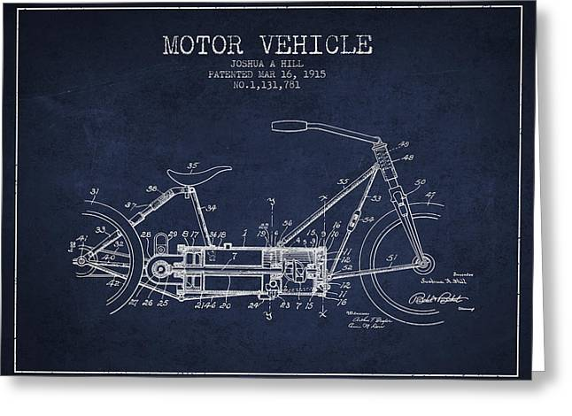 Motorcycles Greeting Cards - 1915 Motor Vehicle Patent - navy blue Greeting Card by Aged Pixel