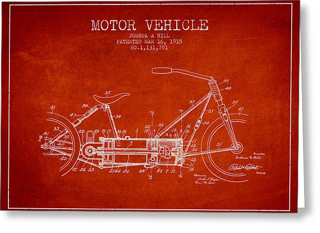 Motorcycles Drawings Greeting Cards - 1915 Motor Vehicle Patent - red Greeting Card by Aged Pixel