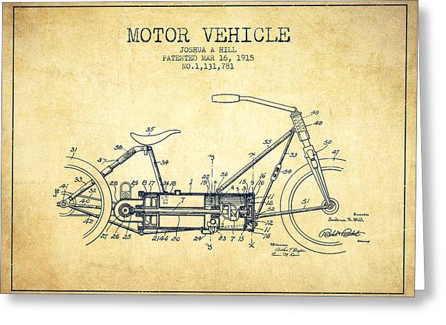 Motorcycles Drawings Greeting Cards - 1915 Motor Vehicle Patent - vintage Greeting Card by Aged Pixel