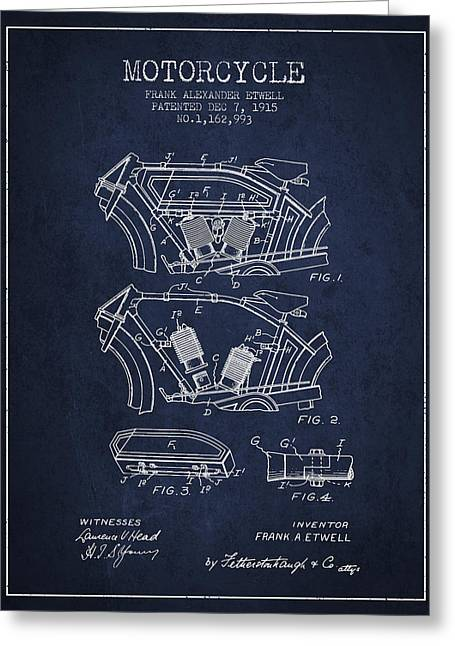 Technical Drawings Greeting Cards - 1915 Motorcycle Patent 02 -  navy blue Greeting Card by Aged Pixel