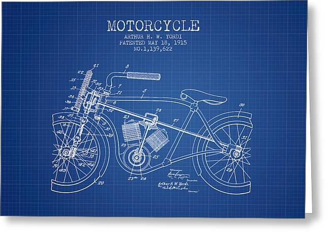 Motorcycles Drawings Greeting Cards - 1915 Motorcycle Patent -  blueprint Greeting Card by Aged Pixel