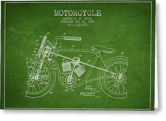 Motorcycles Drawings Greeting Cards - 1915 Motorcycle Patent - green Greeting Card by Aged Pixel