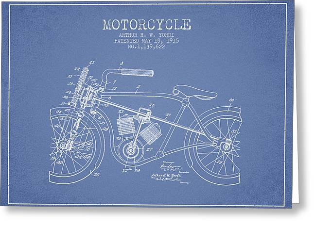 Motorcycles Drawings Greeting Cards - 1915 Motorcycle Patent - light blue Greeting Card by Aged Pixel