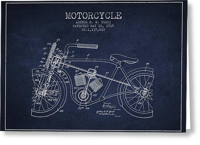 Motorcycles Drawings Greeting Cards - 1915 Motorcycle Patent - navy blue Greeting Card by Aged Pixel