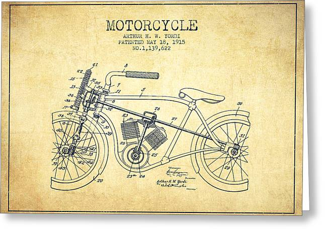 Motorcycles Drawings Greeting Cards - 1915 Motorcycle Patent - vintage Greeting Card by Aged Pixel
