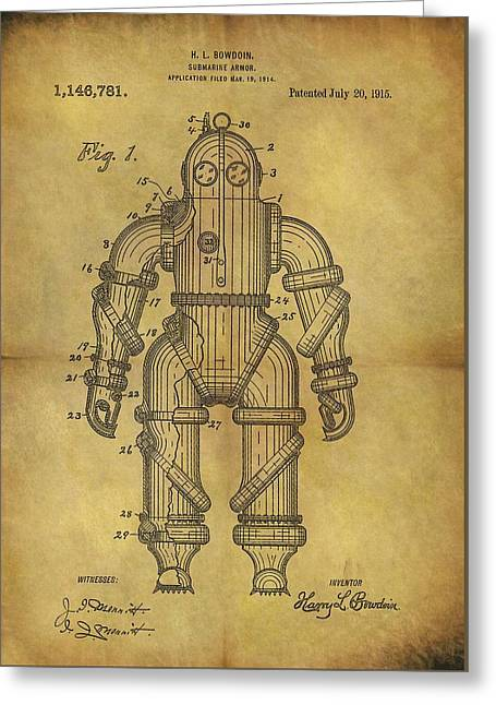 1915 Underwater Armor Suit Patent Greeting Card by Dan Sproul