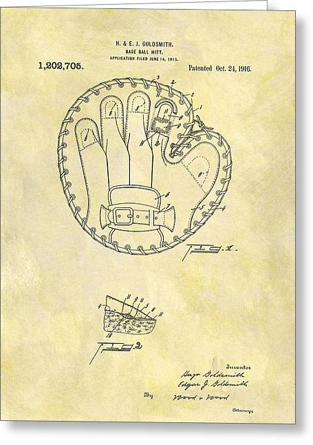 1916 Baseball Glove Patent Greeting Card by Dan Sproul