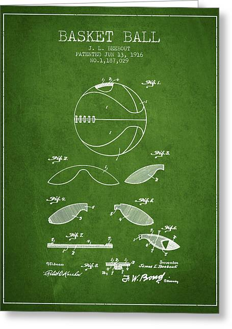 1916 Basket Ball Patent - Green Greeting Card by Aged Pixel