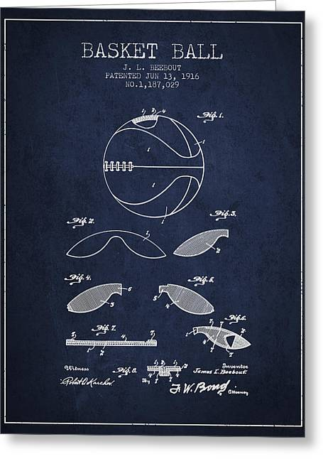 1916 Basket Ball Patent - Navy Blue Greeting Card by Aged Pixel