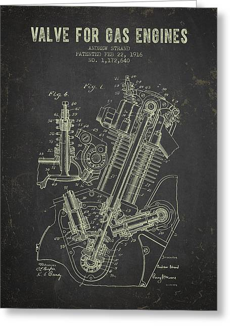 Motorcycle Engines Greeting Cards - 1916 Gas Engine Valve Patent - Dark Grunge Greeting Card by Aged Pixel
