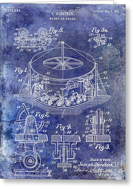 Merry Go Round Greeting Cards - 1916 Merry Go Round Patent Blue Greeting Card by Jon Neidert