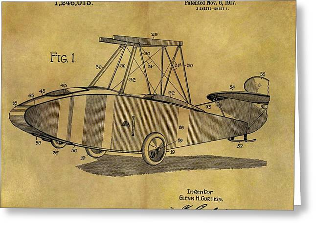 1917 Airplane Patent Greeting Card by Dan Sproul