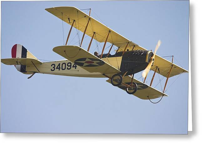 Timer Greeting Cards - 1917 Curtiss JN-4D Jenny Flying Canvas Photo Poster Print Greeting Card by Keith Webber Jr