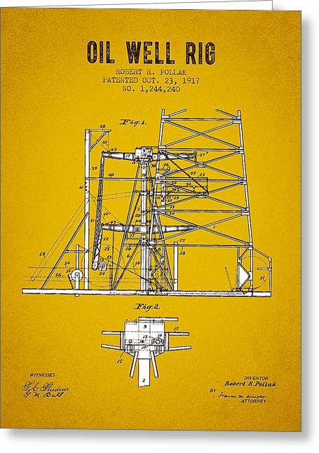 Bedroom Art Greeting Cards - 1917 Oil Well Rig Patent - Yellow Brown Greeting Card by Aged Pixel