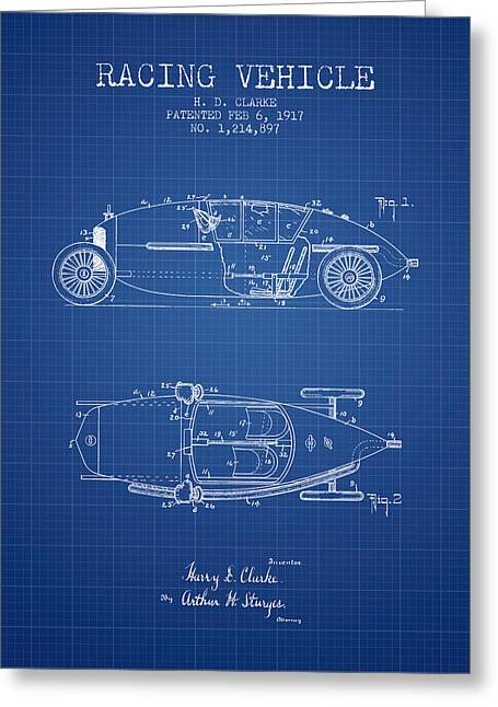 Auto Racing Greeting Cards - 1917 Racing Vehicle Patent - Blueprint Greeting Card by Aged Pixel