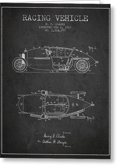 Auto Racing Greeting Cards - 1917 Racing Vehicle Patent - Charcoal Greeting Card by Aged Pixel