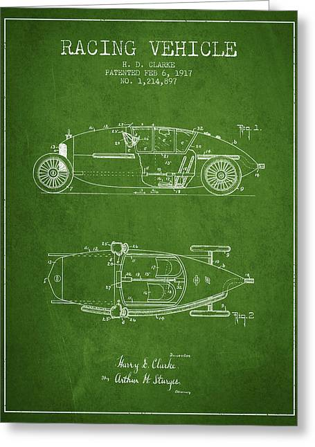 Auto Drawings Greeting Cards - 1917 Racing Vehicle Patent - Green Greeting Card by Aged Pixel