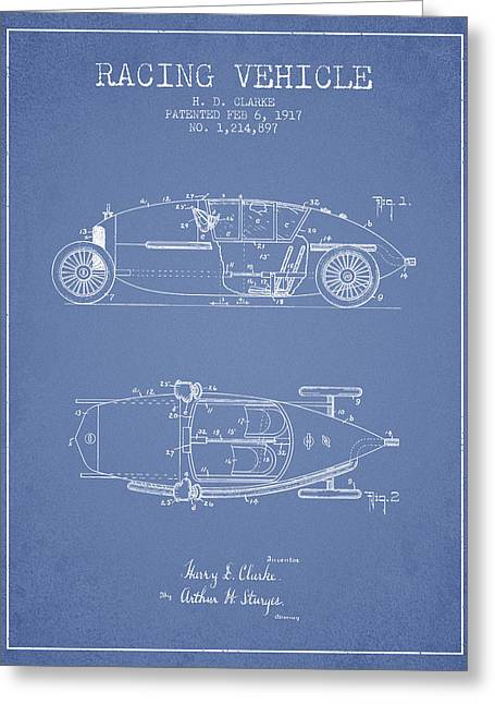 1917 Racing Vehicle Patent - Light Blue Greeting Card by Aged Pixel