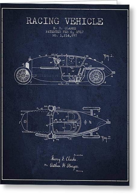 Auto Drawings Greeting Cards - 1917 Racing Vehicle Patent - Navy Blue Greeting Card by Aged Pixel