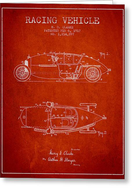 Auto Drawings Greeting Cards - 1917 Racing Vehicle Patent - Red Greeting Card by Aged Pixel