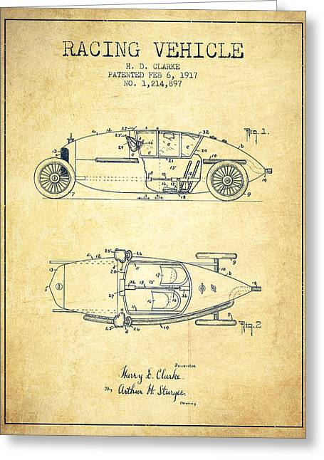 Auto Racing Greeting Cards - 1917 Racing Vehicle Patent - Vintage Greeting Card by Aged Pixel