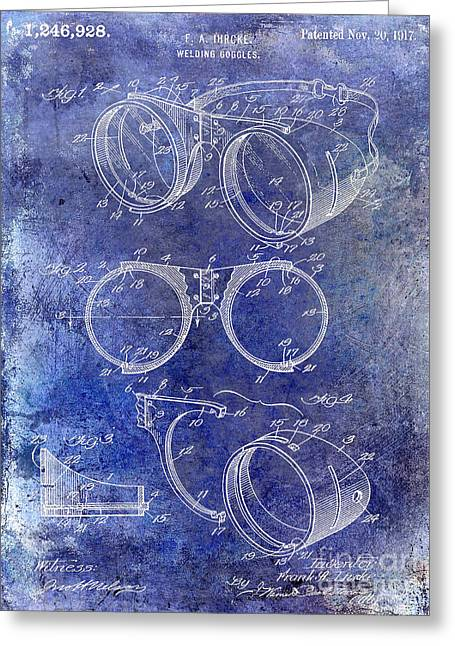 Welding Greeting Cards - 1917 Welders Goggles Patent Blue Greeting Card by Jon Neidert