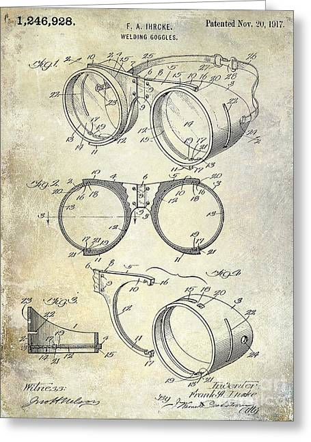 Welding Greeting Cards - 1917 Welders Goggles Patent  Greeting Card by Jon Neidert