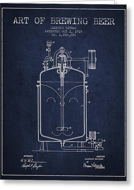 Tap Drawings Greeting Cards - 1918 Art of Brewing Beer Patent - Navy Blue Greeting Card by Aged Pixel