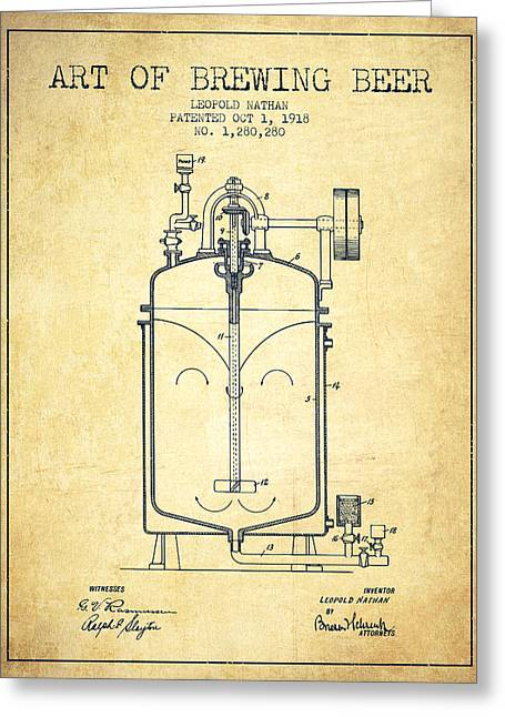 Tap Drawings Greeting Cards - 1918 Art of Brewing Beer Patent - Vintage Greeting Card by Aged Pixel