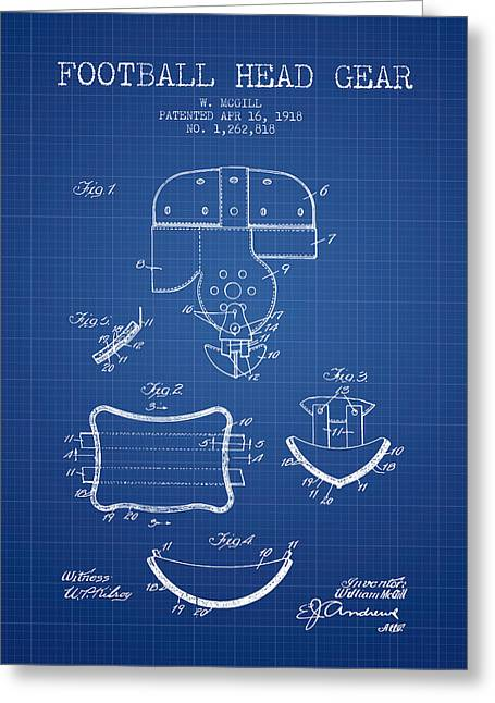 Helmet Drawings Greeting Cards - 1918 Football Head Gear Patent - Blueprint Greeting Card by Aged Pixel