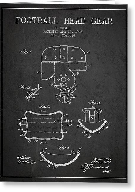 Helmet Drawings Greeting Cards - 1918 Football Head Gear Patent - Charcoal Greeting Card by Aged Pixel