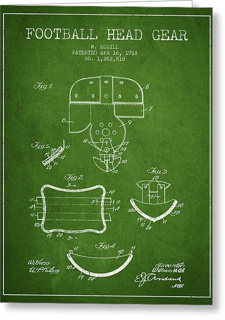Helmet Drawings Greeting Cards - 1918 Football Head Gear Patent - Green Greeting Card by Aged Pixel