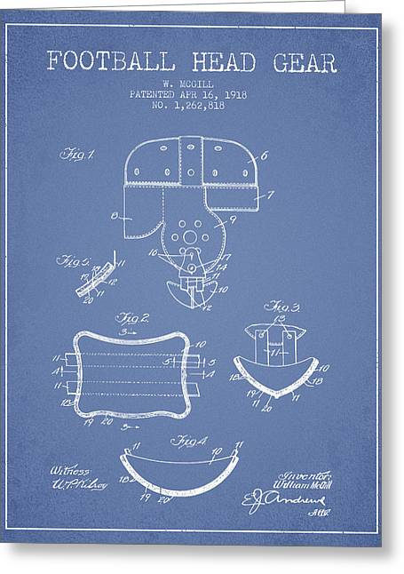 Helmet Drawings Greeting Cards - 1918 Football Head Gear Patent - Light Blue Greeting Card by Aged Pixel