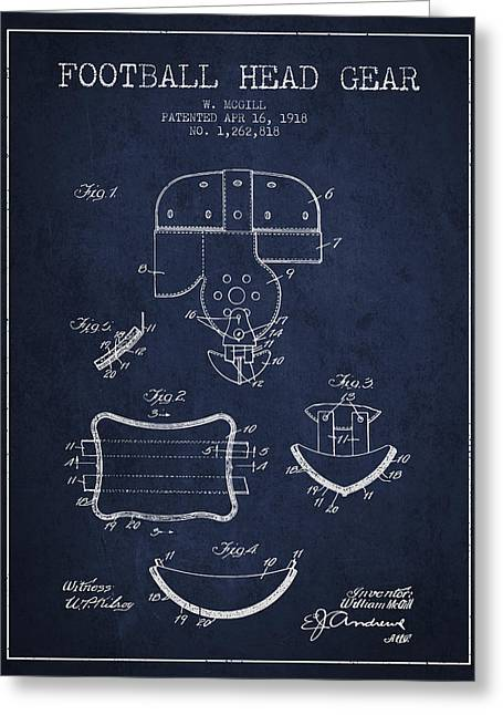 1918 Football Head Gear Patent - Navy Blue Greeting Card by Aged Pixel