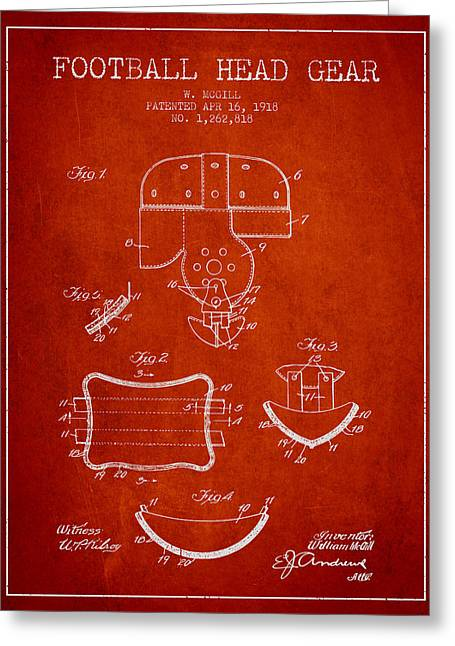 1918 Football Head Gear Patent - Red Greeting Card by Aged Pixel