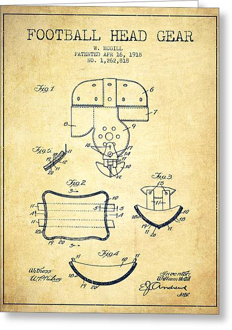 1918 Football Head Gear Patent - Vintage Greeting Card by Aged Pixel