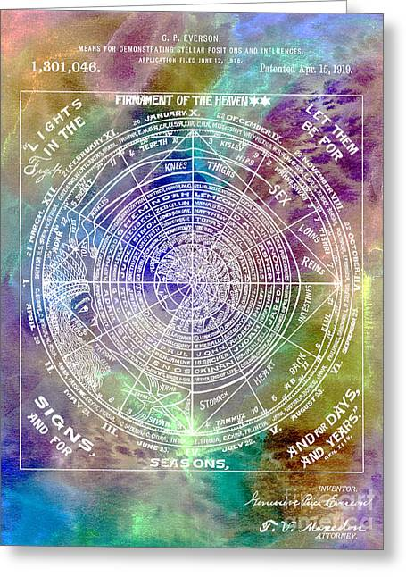 Astronomers Greeting Cards - 1919 Astrology Patent Colorful Greeting Card by Jon Neidert