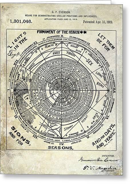 1919 Astrology Patent Greeting Card by Jon Neidert